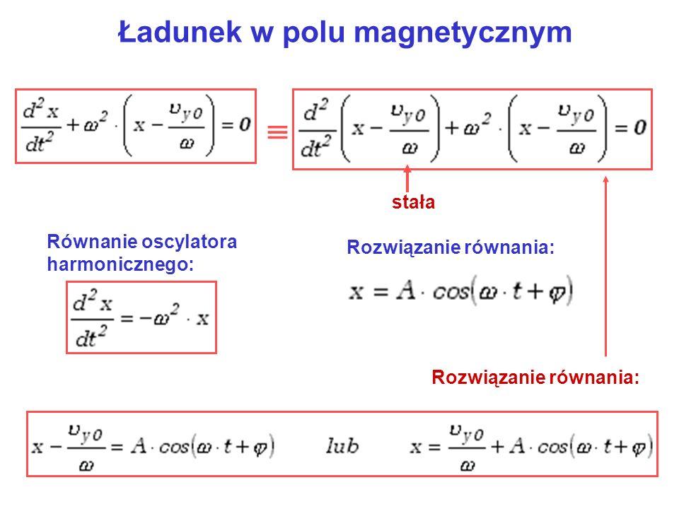 Ładunek w polu magnetycznym stała Równanie oscylatora harmonicznego: Rozwiązanie równania: