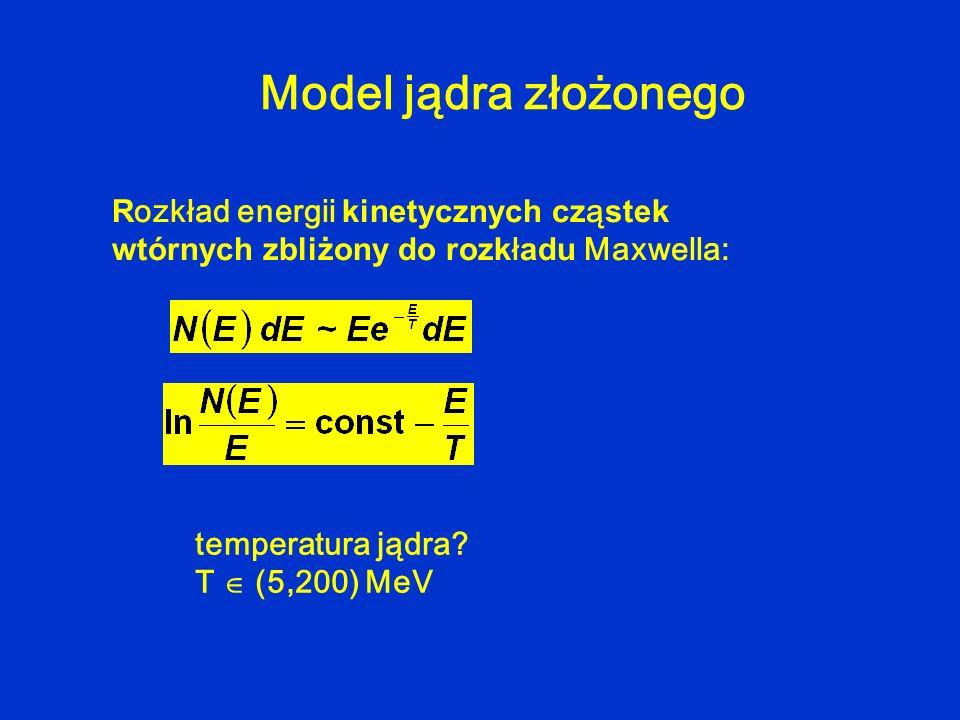 R ozkład energii kinetycznych cz ą stek wtórnych zbliżony do rozk ł adu Maxwella: Model jądra złożonego temperatura jądra? T (5,200) MeV
