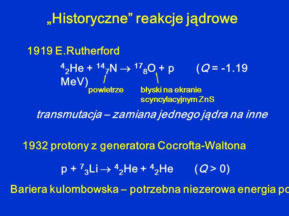 Historyczne reakcje jądrowe 4 2 He + 14 7 N 17 8 O + p (Q = -1.19 MeV) 1919 E.Rutherford p + 7 3 Li 4 2 He + 4 2 He (Q > 0) 1932 protony z generatora