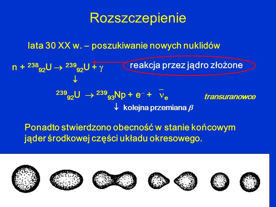Rozszczepienie n + 238 92 U 239 92 U + 239 92 U 239 93 Np + e + e lata 30 XX w. – poszukiwanie nowych nuklidów Ponadto stwierdzono obecność w stanie k