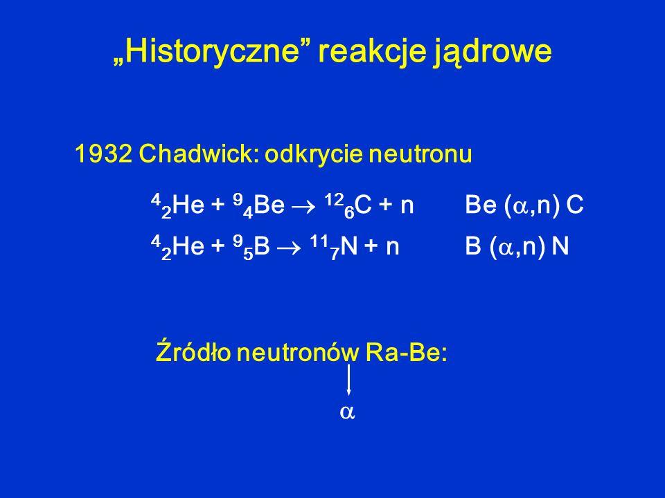 Historyczne reakcje jądrowe 4 2 He + 9 4 Be 12 6 C + n Be (,n) C 4 2 He + 9 5 B 11 7 N + n B (,n) N 1932 Chadwick: odkrycie neutronu Źródło neutronów
