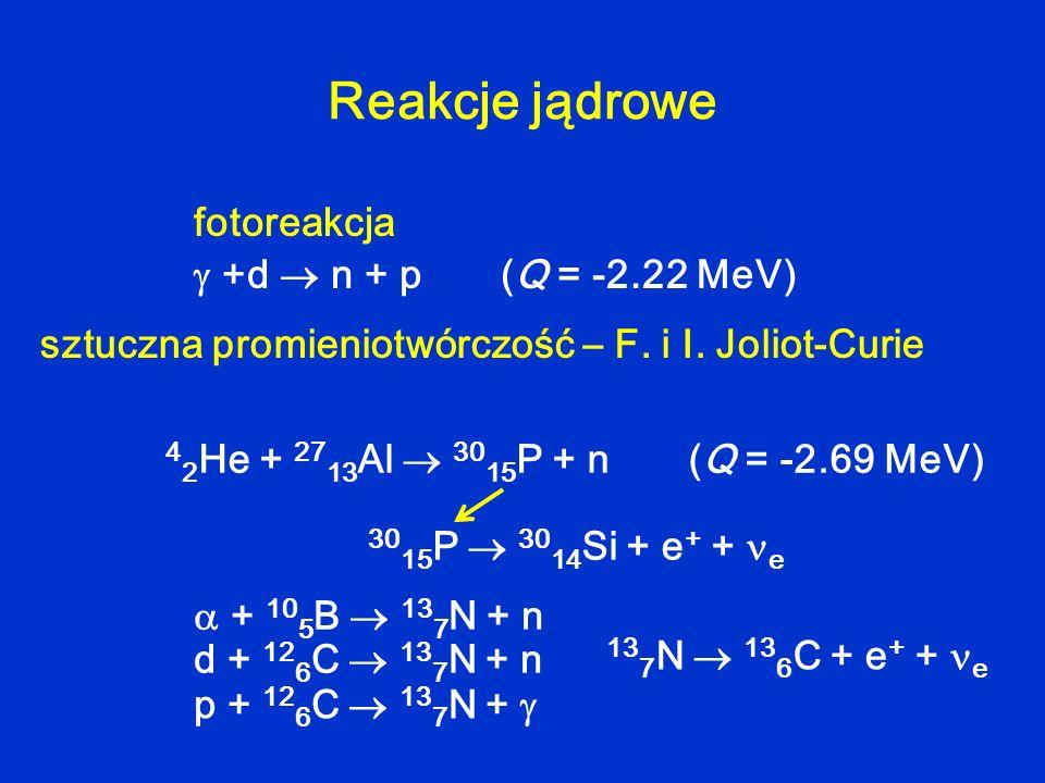 Reakcje jądrowe +d n + p (Q = -2.22 MeV) fotoreakcja sztuczna promieniotwórczość – F. i I. Joliot-Curie + 10 5 B 13 7 N + n d + 12 6 C 13 7 N + n p +