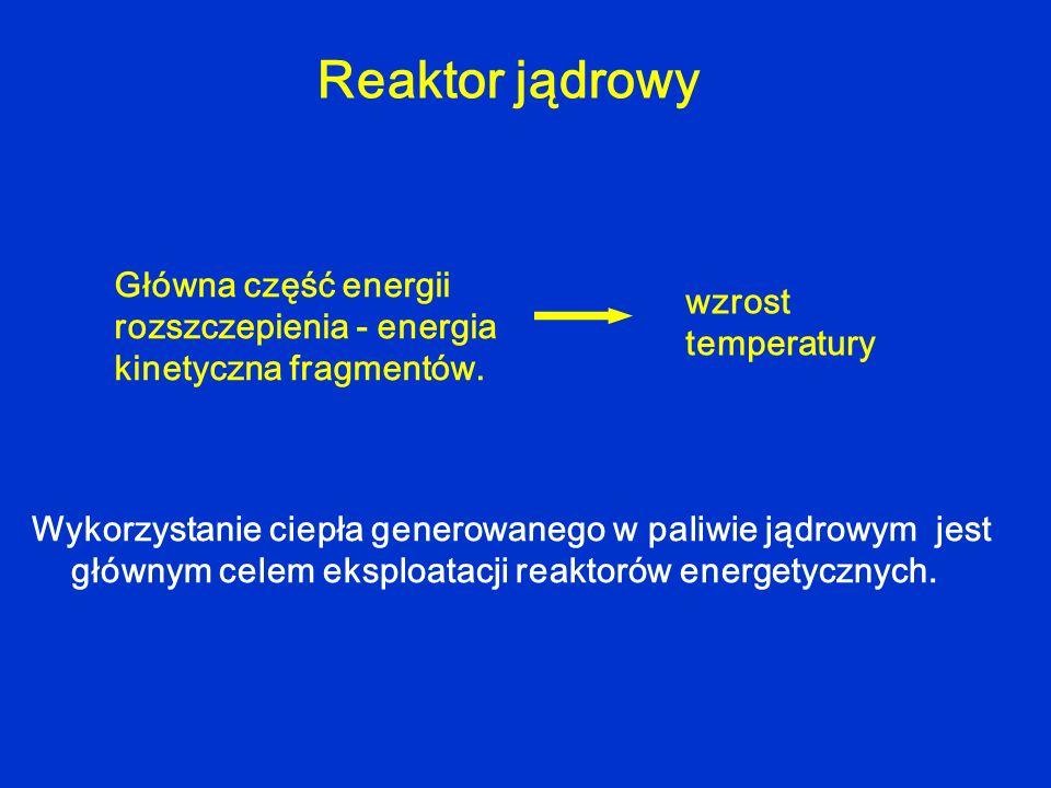 Reaktor jądrowy Wykorzystanie ciepła generowanego w paliwie jądrowym jest głównym celem eksploatacji reaktorów energetycznych. Główna część energii ro