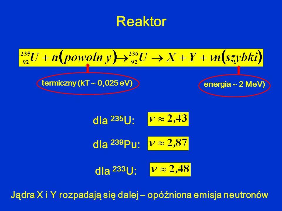 Reaktor dla 235 U: dla 239 Pu: dla 233 U: termiczny (kT 0,025 eV) energia 2 MeV) Jądra X i Y rozpadają się dalej – opóźniona emisja neutronów