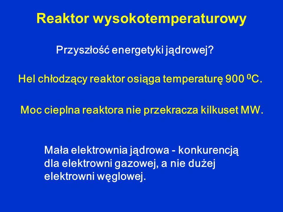Reaktor wysokotemperaturowy Hel chłodzący reaktor osiąga temperaturę 900 0 C. Moc cieplna reaktora nie przekracza kilkuset MW. Przyszłość energetyki j