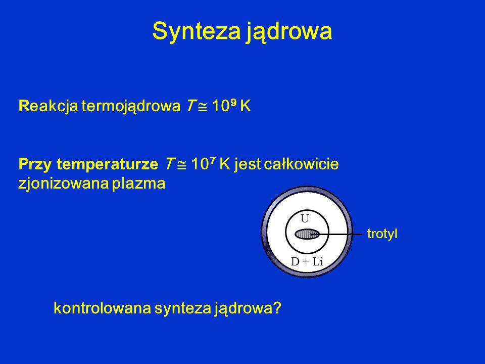 R eakcja termojądrowa T 10 9 K Przy temperaturze T 10 7 K jest całkowicie zjonizowana plazma D + Li U trotyl kontrolowana synteza jądrowa? Synteza jąd