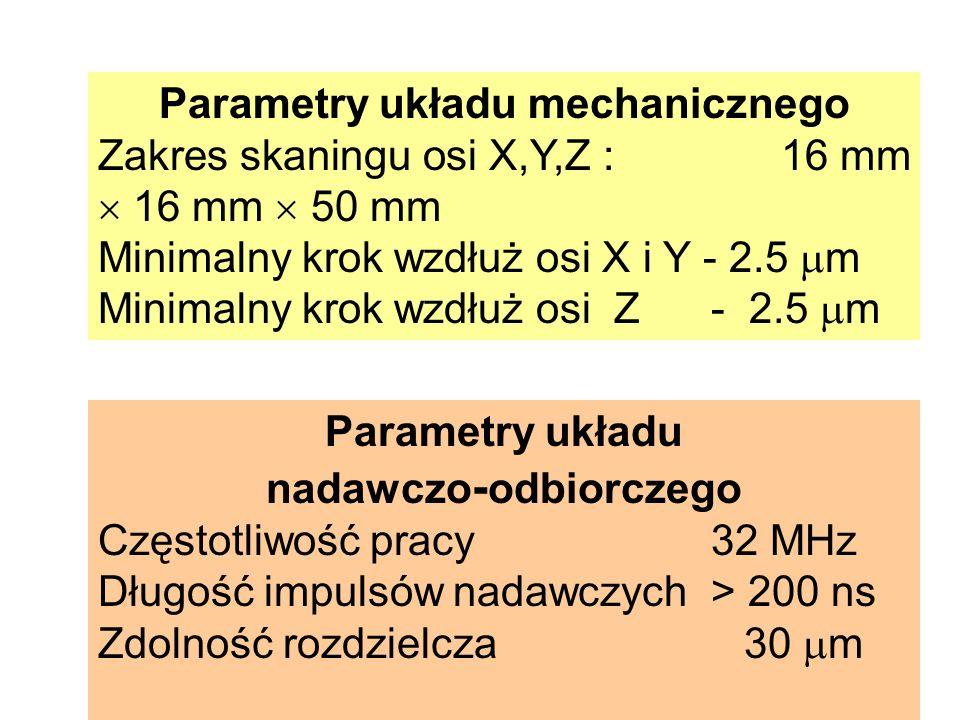 Parametry układu mechanicznego Zakres skaningu osi X,Y,Z : 16 mm 16 mm 50 mm Minimalny krok wzdłuż osi X i Y - 2.5 m Minimalny krok wzdłuż osi Z - 2.5