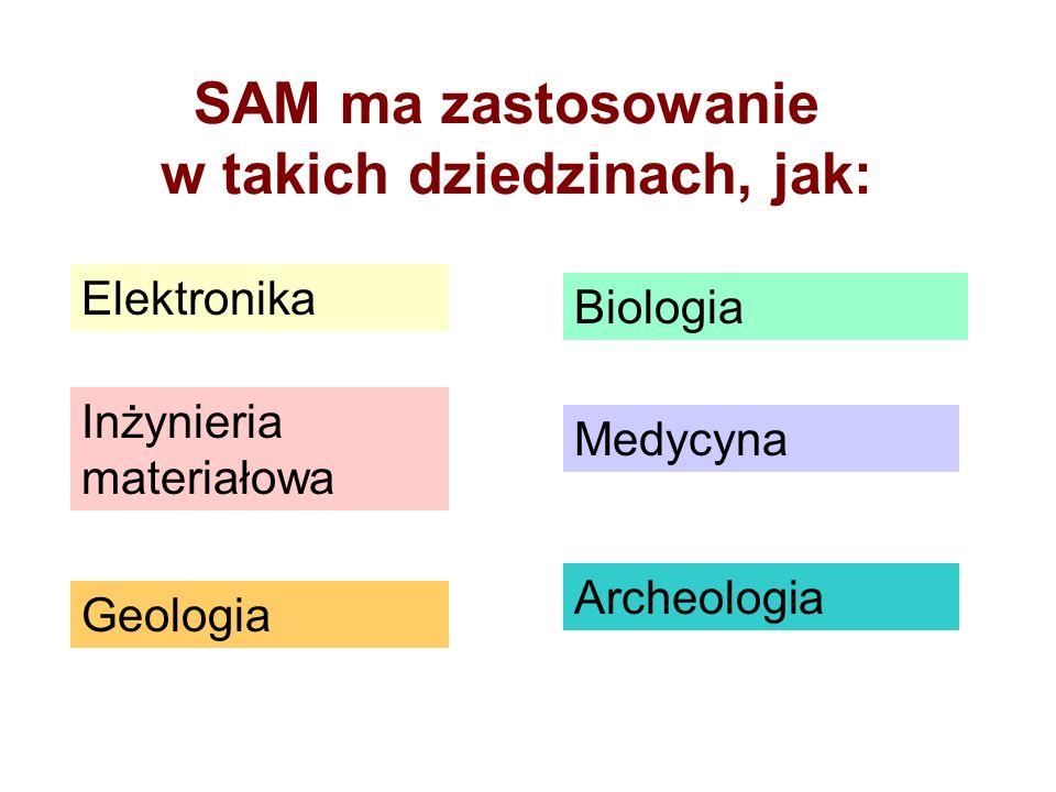 SAM ma zastosowanie w takich dziedzinach, jak: Elektronika Inżynieria materiałowa Geologia Biologia Medycyna Archeologia