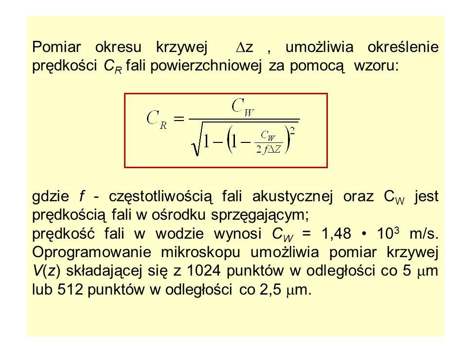 Pomiar okresu krzywej z, umożliwia określenie prędkości C R fali powierzchniowej za pomocą wzoru: gdzie f - częstotliwością fali akustycznej oraz C W