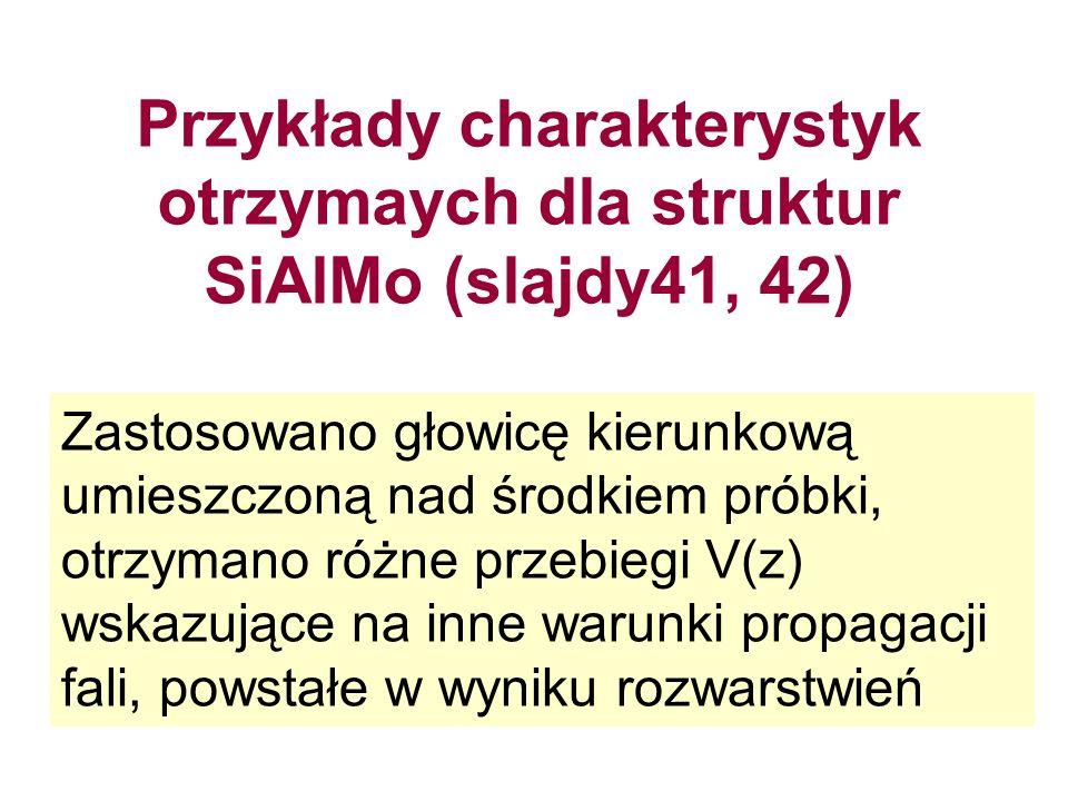Przykłady charakterystyk otrzymaych dla struktur SiAlMo (slajdy41, 42) Zastosowano głowicę kierunkową umieszczoną nad środkiem próbki, otrzymano różne