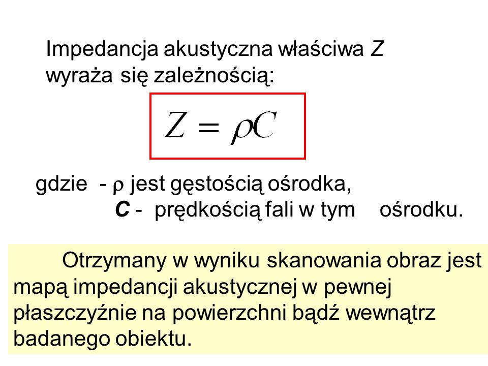 Impedancja akustyczna właściwa Z wyraża się zależnością: gdzie - jest gęstością ośrodka, C - prędkością fali w tym ośrodku. Otrzymany w wyniku skanowa