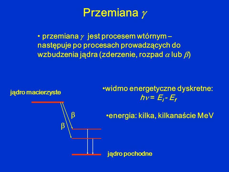 Przemiana przemiana jest procesem wtórnym – następuje po procesach prowadzących do wzbudzenia jądra (zderzenie, rozpad lub ) widmo energetyczne dyskre