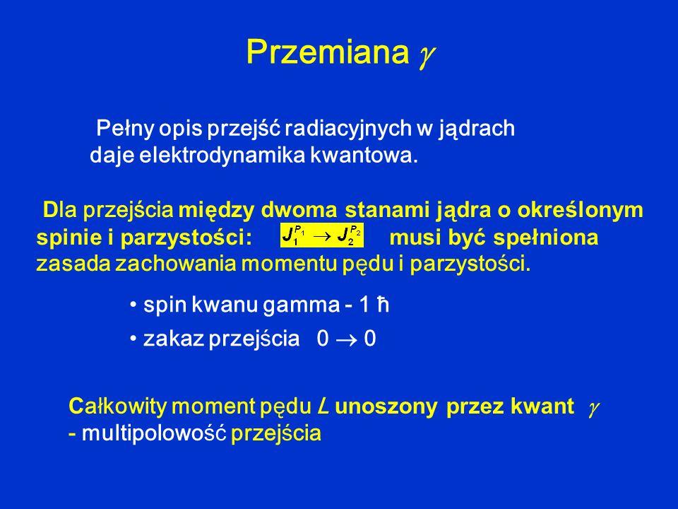 Pełny opis przejść radiacyjnych w jądrach daje elektrodynamika kwantowa. Przemiana spin kwanu gamma - 1 ħ zakaz przejścia 0 0 C ałkowity moment pędu L