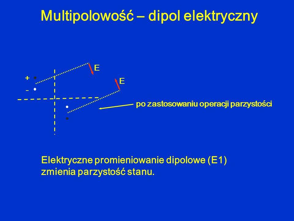 Multipolowość – dipol elektryczny + - E E po zastosowaniu operacji parzystości Elektryczne promieniowanie dipolowe (E1) zmienia parzystość stanu.