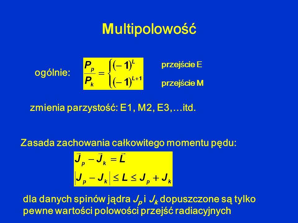 M ultipolowość zmienia parzystość: E1, M2, E3,…itd. przejście E przejście M ogólnie: Zasada zachowania całkowitego momentu pędu: dla danych spinów jąd