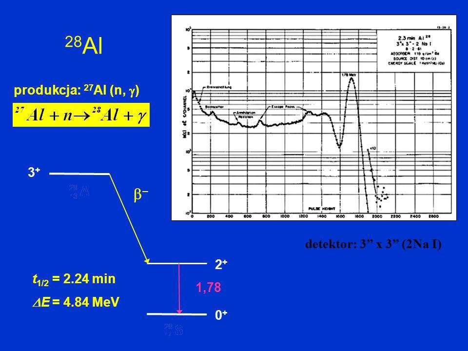 28 Al produkcja: 27 Al (n, ) 1,78 2+2+ 0+0+ – t 1/2 = 2.24 min E = 4.84 MeV 3+3+ detektor: 3 x 3 (2Na I)