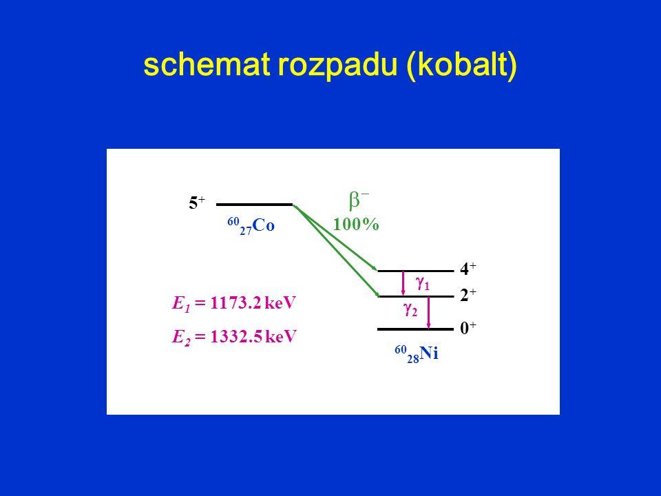 60 27 Co 60 28 Ni 0+0+ 2+2+ 4+4+ 5+5+ 1 2 E 1 = 1173.2 keV E 2 = 1332.5 keV 100% schemat rozpadu (kobalt)