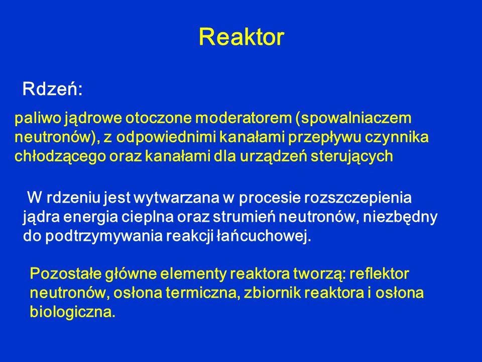 W rdzeniu jest wytwarzana w procesie rozszczepienia jądra energia cieplna oraz strumień neutronów, niezbędny do podtrzymywania reakcji łańcuchowej. Re