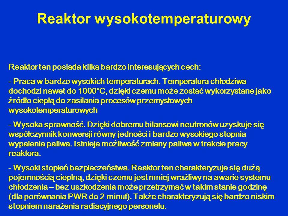 Reaktor ten posiada kilka bardzo interesujących cech: - Praca w bardzo wysokich temperaturach. Temperatura chłodziwa dochodzi nawet do 1000°C, dzięki