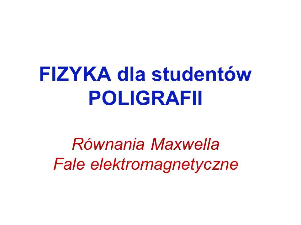 FIZYKA dla studentów POLIGRAFII Równania Maxwella Fale elektromagnetyczne