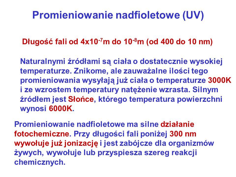 Promieniowanie nadfioletowe (UV) Naturalnymi źródłami są ciała o dostatecznie wysokiej temperaturze. Znikome, ale zauważalne ilości tego promieniowani