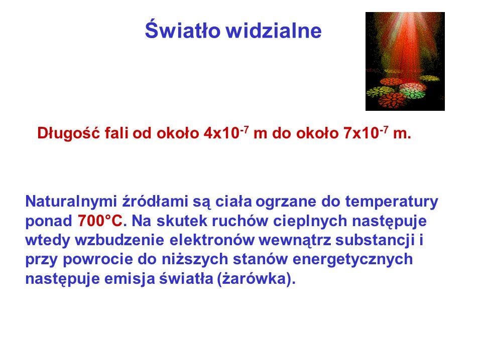 Światło widzialne Naturalnymi źródłami są ciała ogrzane do temperatury ponad 700°C. Na skutek ruchów cieplnych następuje wtedy wzbudzenie elektronów w