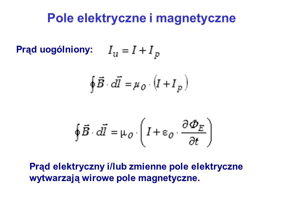 Pole elektryczne i magnetyczne Prąd elektryczny i/lub zmienne pole elektryczne wytwarzają wirowe pole magnetyczne. Prąd uogólniony: