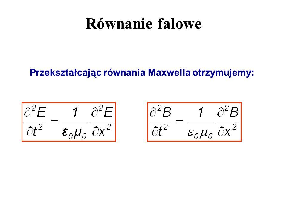 Równanie falowe Przekształcając równania Maxwella otrzymujemy: