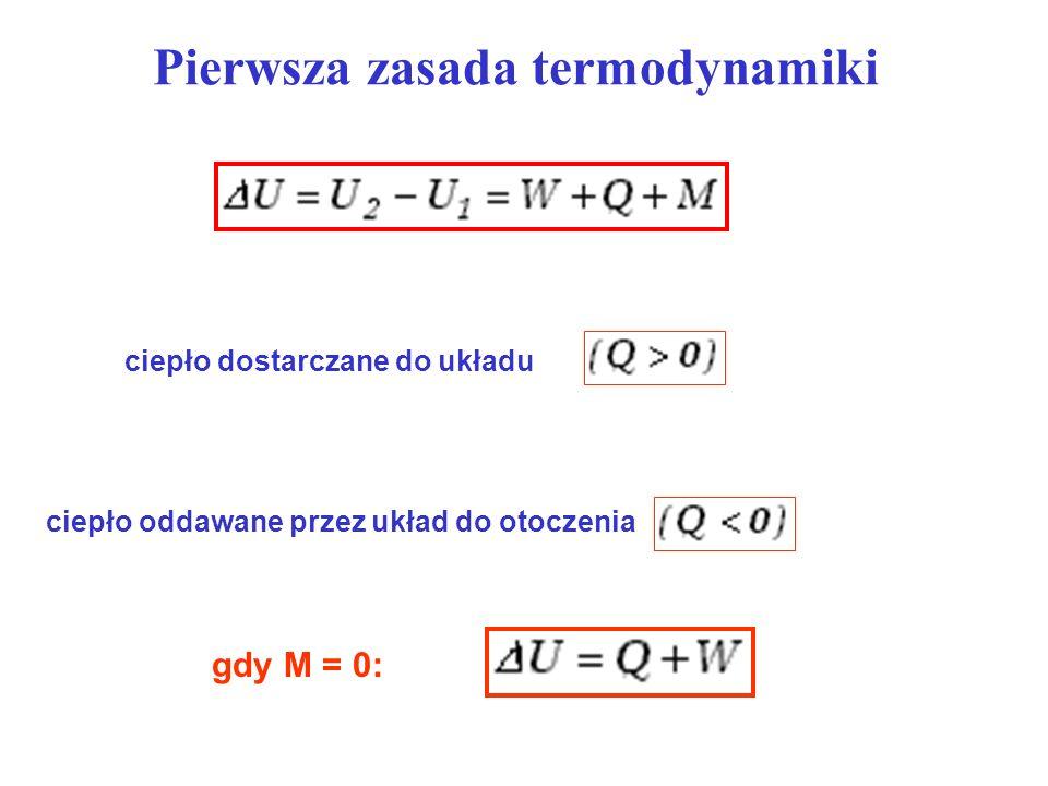 Pierwsza zasada termodynamiki ciepło oddawane przez układ do otoczenia ciepło dostarczane do układu gdy M = 0: