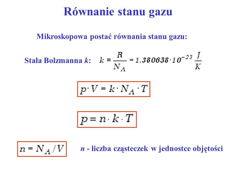 Równanie stanu gazu Mikroskopowa postać równania stanu gazu: Stała Bolzmanna k: n - liczba cząsteczek w jednostce objętości
