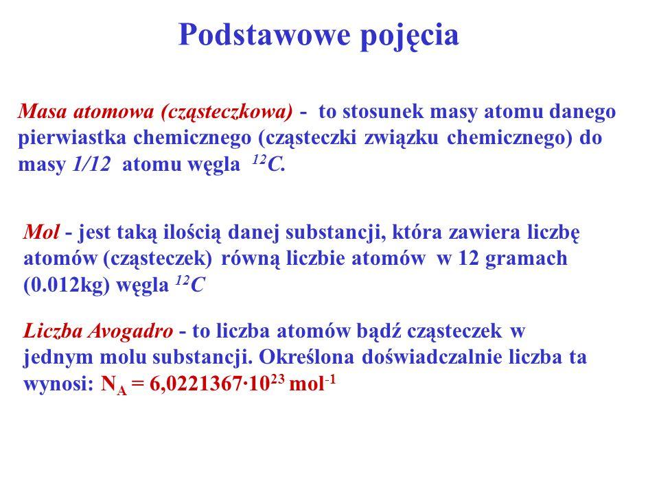 Podstawowe pojęcia Masa atomowa (cząsteczkowa) - to stosunek masy atomu danego pierwiastka chemicznego (cząsteczki związku chemicznego) do masy 1/12 a