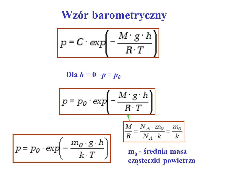 Wzór barometryczny Dla h = 0 p = p 0 m 0 - średnia masa cząsteczki powietrza