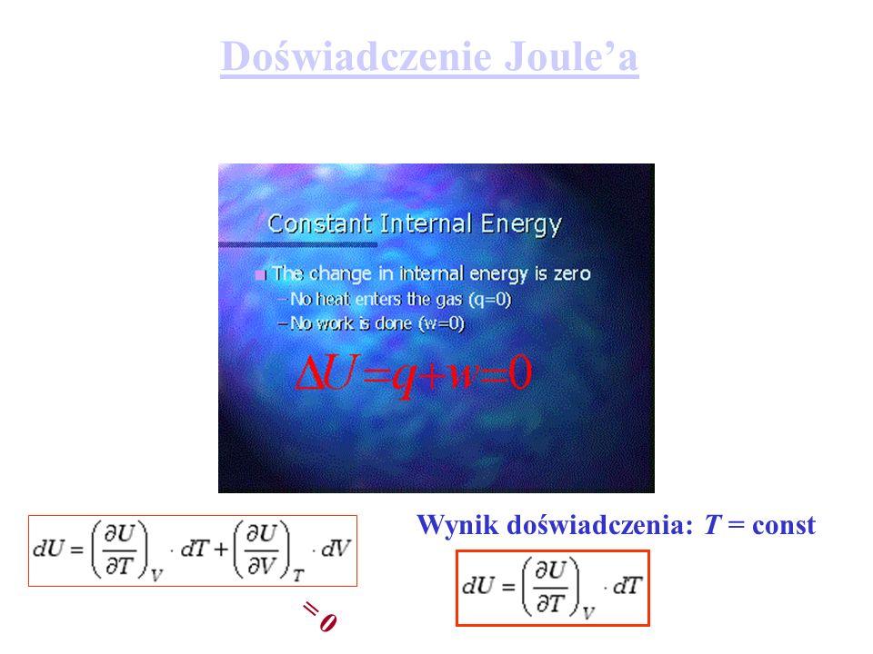 Doświadczenie Joulea Wynik doświadczenia: T = const = 0