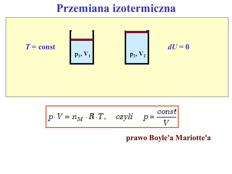 Przemiana izotermiczna T = constdU = 0 p 1, V 1 p 2, V 2 prawo Boyle'a Mariotte'a