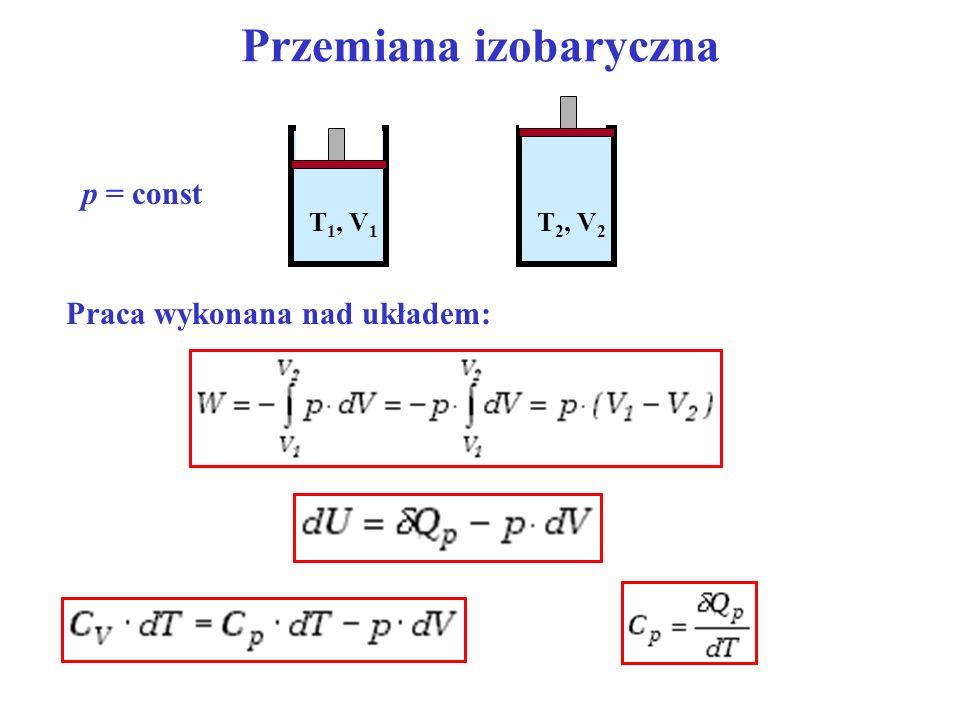 Przemiana izobaryczna p = const T 1, V 1 T 2, V 2 Praca wykonana nad układem: