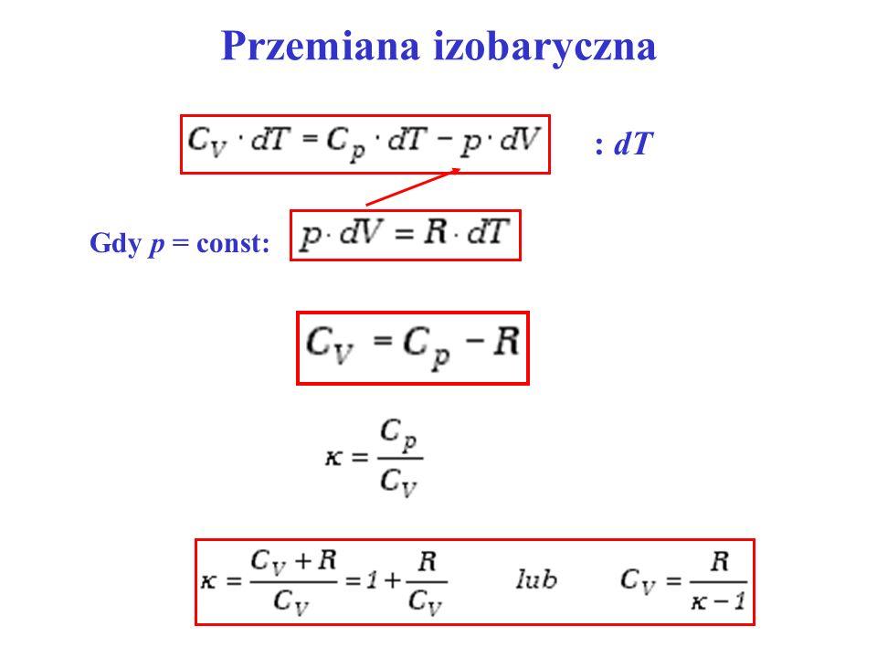 Przemiana izobaryczna Gdy p = const: : dT