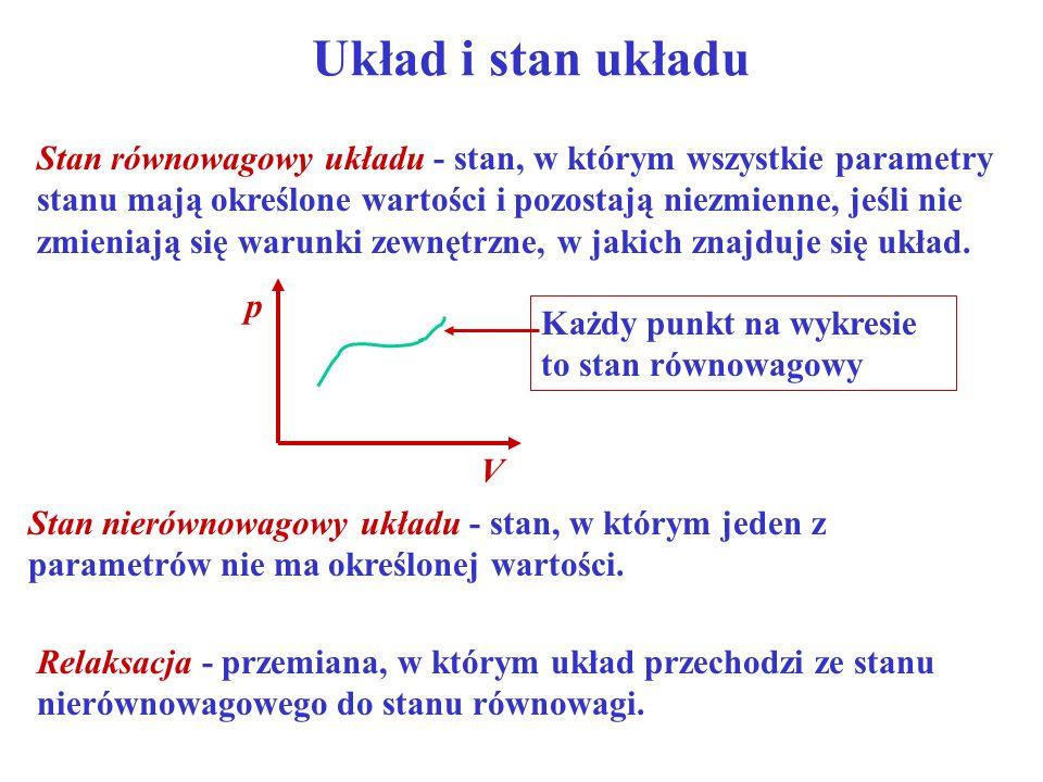 Układ i stan układu Stan nierównowagowy układu - stan, w którym jeden z parametrów nie ma określonej wartości. Stan równowagowy układu - stan, w który