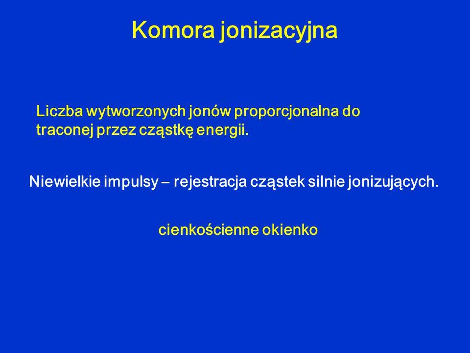 Komora jonizacyjna Liczba wytworzonych jonów proporcjonalna do traconej przez cząstkę energii. Niewielkie impulsy – rejestracja cząstek silnie jonizuj