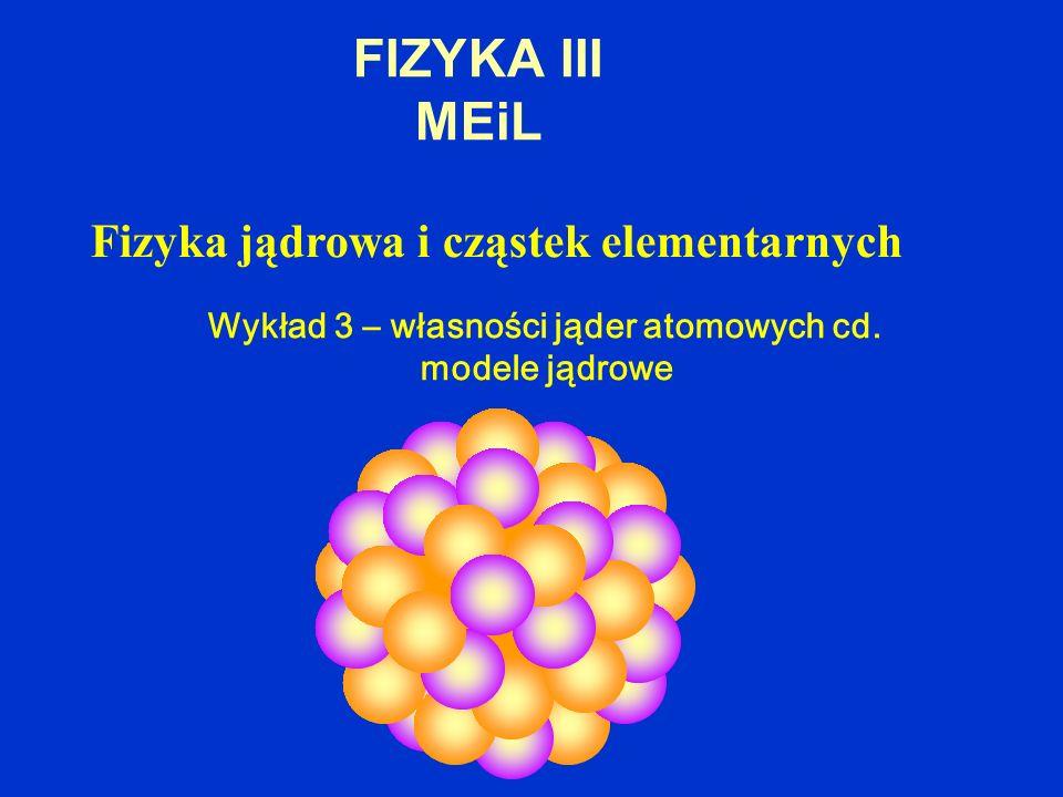 FIZYKA III MEiL Fizyka jądrowa i cząstek elementarnych Wykład 3 – własności jąder atomowych cd. modele jądrowe