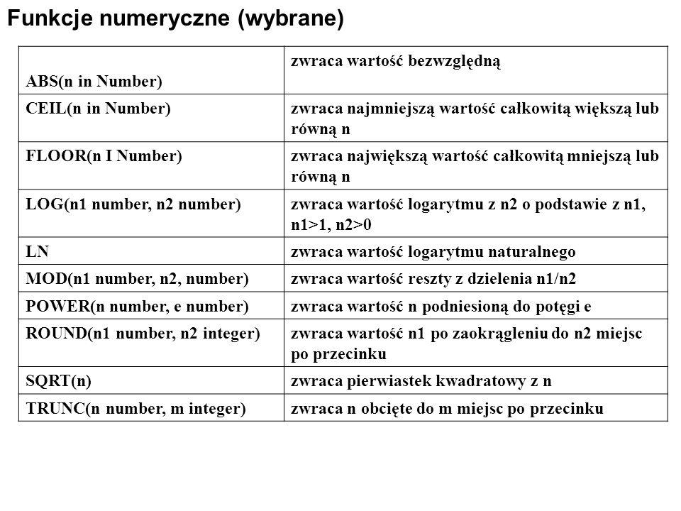 Funkcje numeryczne (wybrane) ABS(n in Number) zwraca wartość bezwzględną CEIL(n in Number)zwraca najmniejszą wartość całkowitą większą lub równą n FLOOR(n I Number)zwraca największą wartość całkowitą mniejszą lub równą n LOG(n1 number, n2 number)zwraca wartość logarytmu z n2 o podstawie z n1, n1>1, n2>0 LNzwraca wartość logarytmu naturalnego MOD(n1 number, n2, number)zwraca wartość reszty z dzielenia n1/n2 POWER(n number, e number)zwraca wartość n podniesioną do potęgi e ROUND(n1 number, n2 integer)zwraca wartość n1 po zaokrągleniu do n2 miejsc po przecinku SQRT(n)zwraca pierwiastek kwadratowy z n TRUNC(n number, m integer)zwraca n obcięte do m miejsc po przecinku