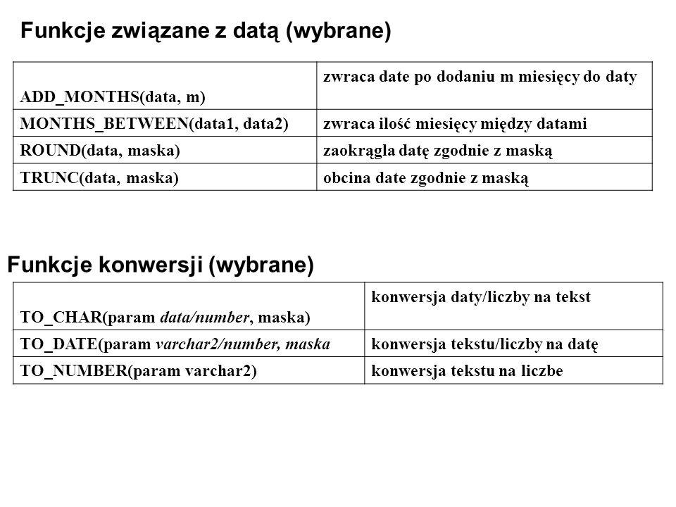 Funkcje związane z datą (wybrane) ADD_MONTHS(data, m) zwraca date po dodaniu m miesięcy do daty MONTHS_BETWEEN(data1, data2)zwraca ilość miesięcy między datami ROUND(data, maska)zaokrągla datę zgodnie z maską TRUNC(data, maska)obcina date zgodnie z maską Funkcje konwersji (wybrane) TO_CHAR(param data/number, maska) konwersja daty/liczby na tekst TO_DATE(param varchar2/number, maskakonwersja tekstu/liczby na datę TO_NUMBER(param varchar2)konwersja tekstu na liczbe