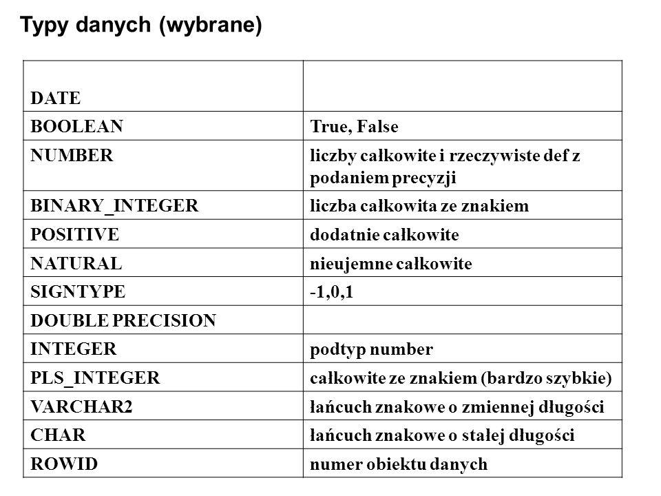 Typy danych (wybrane) DATE BOOLEANTrue, False NUMBERliczby całkowite i rzeczywiste def z podaniem precyzji BINARY_INTEGERliczba całkowita ze znakiem POSITIVEdodatnie całkowite NATURALnieujemne całkowite SIGNTYPE-1,0,1 DOUBLE PRECISION INTEGERpodtyp number PLS_INTEGERcałkowite ze znakiem (bardzo szybkie) VARCHAR2łańcuch znakowe o zmiennej długości CHARłańcuch znakowe o stałej długości ROWIDnumer obiektu danych
