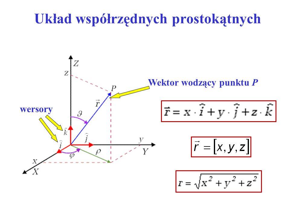 Układ współrzędnych prostokątnych Wektor wodzący punktu P wersory