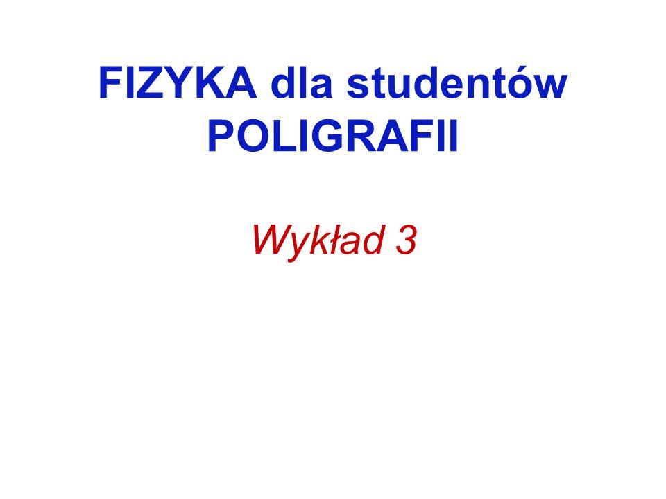 FIZYKA dla studentów POLIGRAFII Wykład 3