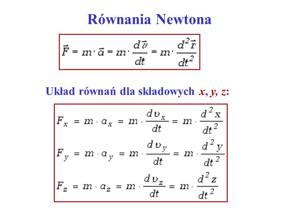 Równania Newtona Układ równań dla składowych x, y, z: