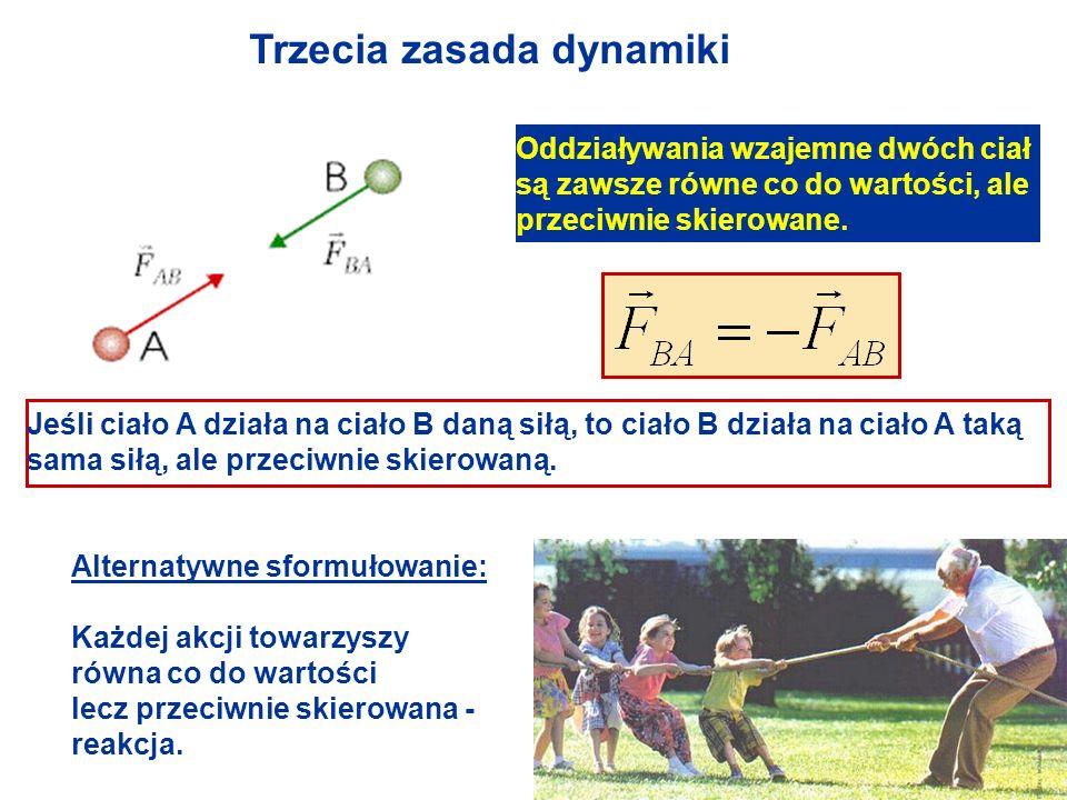 Trzecia zasada dynamiki Oddziaływania wzajemne dwóch ciał są zawsze równe co do wartości, ale przeciwnie skierowane. Jeśli ciało A działa na ciało B d