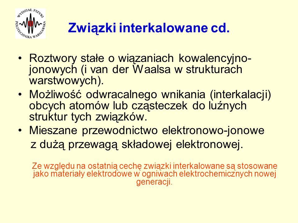 Związki interkalowane cd. Roztwory stałe o wiązaniach kowalencyjno- jonowych (i van der Waalsa w strukturach warstwowych). Możliwość odwracalnego wnik