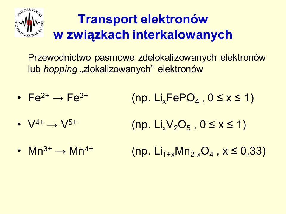 Transport elektronów w związkach interkalowanych Przewodnictwo pasmowe zdelokalizowanych elektronów lub hopping zlokalizowanych elektronów Fe 2+ Fe 3+