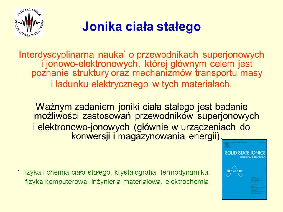 Jonika ciała stałego Interdyscyplinarna nauka * o przewodnikach superjonowych i jonowo-elektronowych, której głównym celem jest poznanie struktury ora