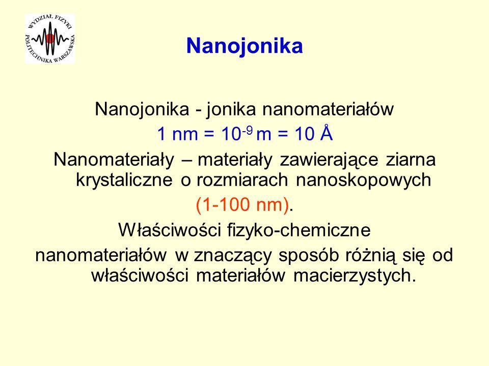 Nanojonika Nanojonika - jonika nanomateriałów 1 nm = 10 -9 m = 10 Å Nanomateriały – materiały zawierające ziarna krystaliczne o rozmiarach nanoskopowy